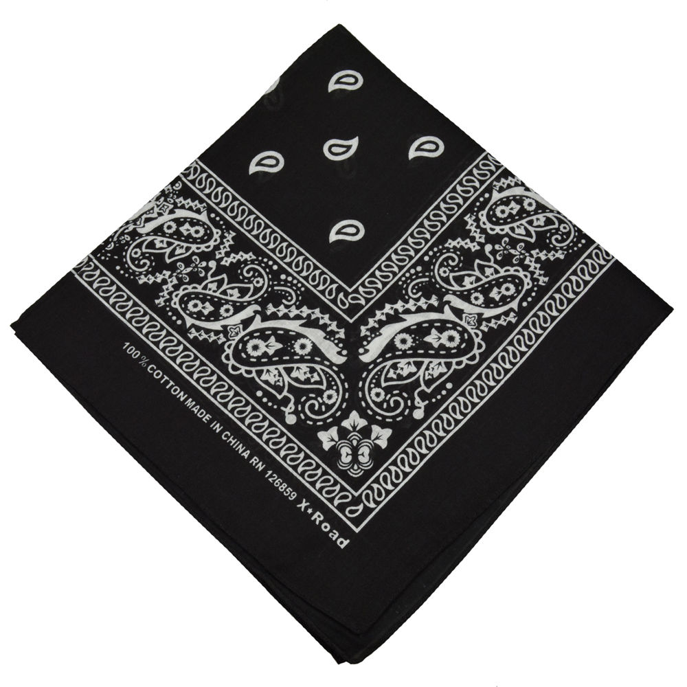 Even More On Double Standards >> 100% Cotton Paisley Bandana Double Sided BLACK - Boolavard