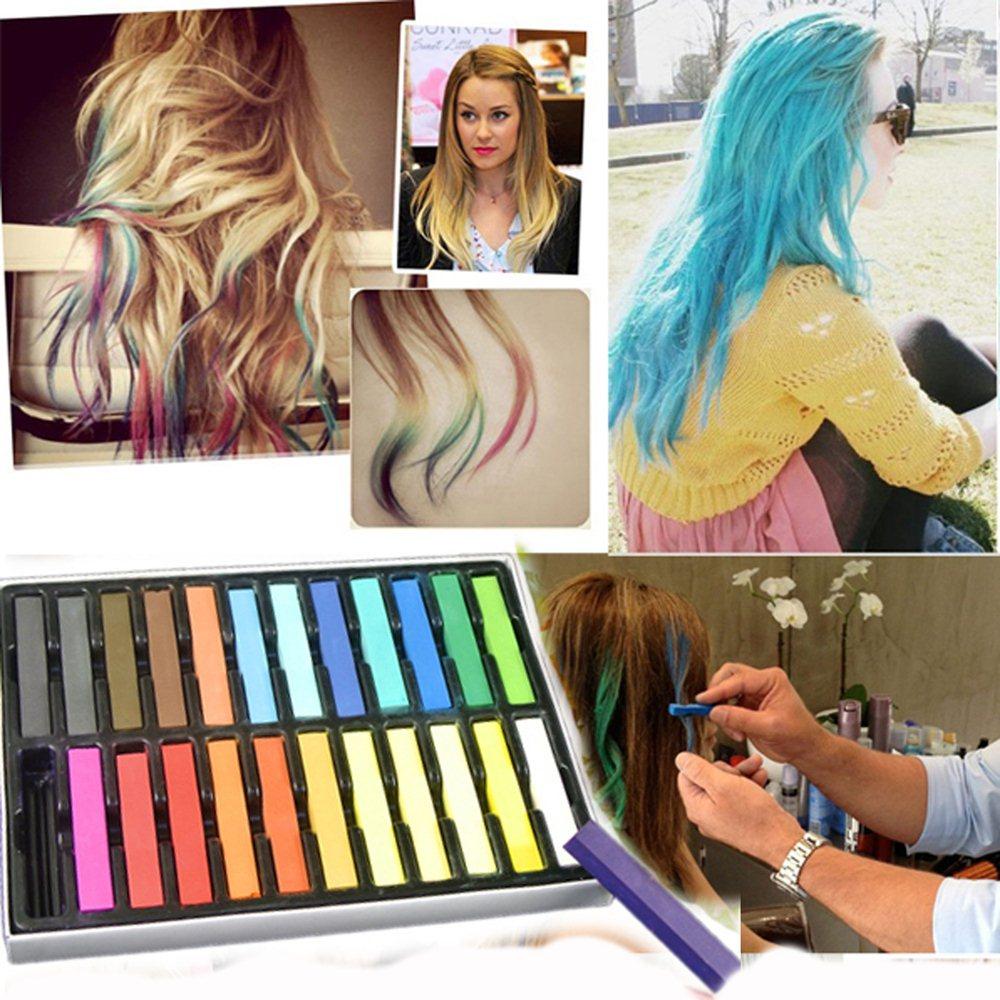 36pc Non-Toxic Temporary Hair Pastel Chalk Beauty Kit - Boolavard